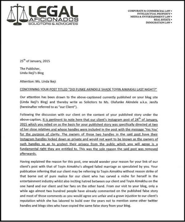 Actress & Lawyer Funke Akindele Threatens to SUE Linda Ikeji but ...