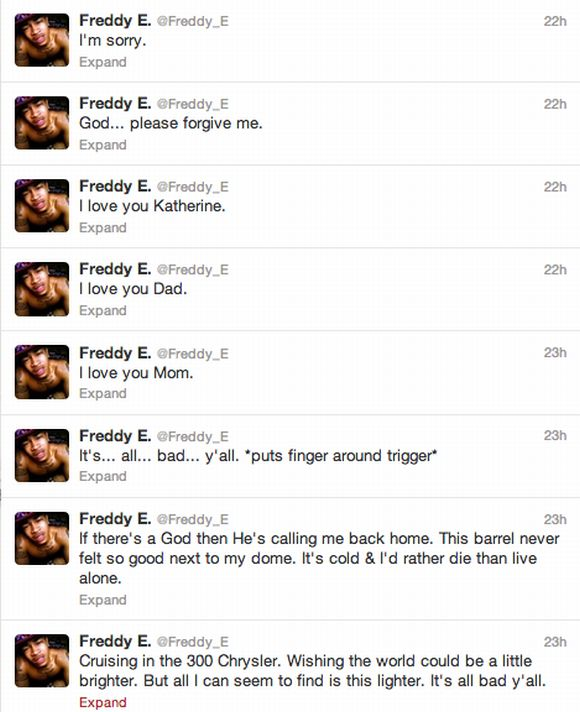 Freddy E Tweets Before Suicide