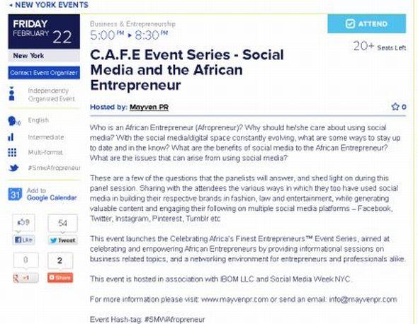 Social Media Week New York City - Social Media of the African Entrepreneur