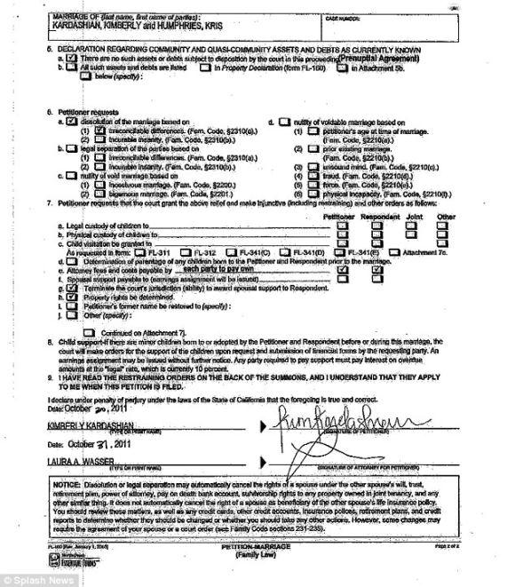 Kim K Divorce Petition