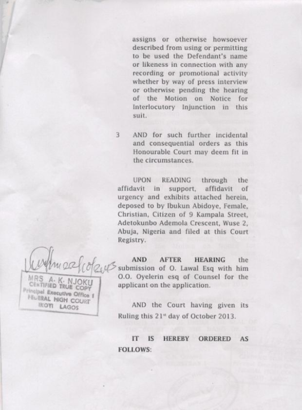 Chocolate City v BVrymo Court Injunction