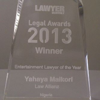 Yahaya Maikori Wins Entertainment Lawyer of the Year at the Lawyer Monthly 2013 Legal Awards