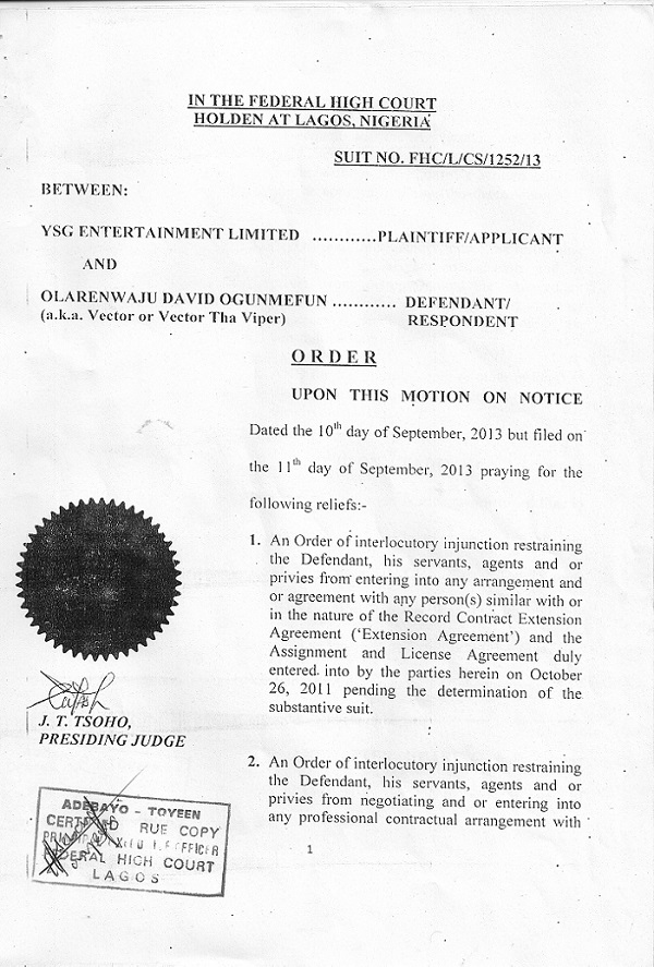Vector's Ex-Record Label Files Injunction Action Against Him 1