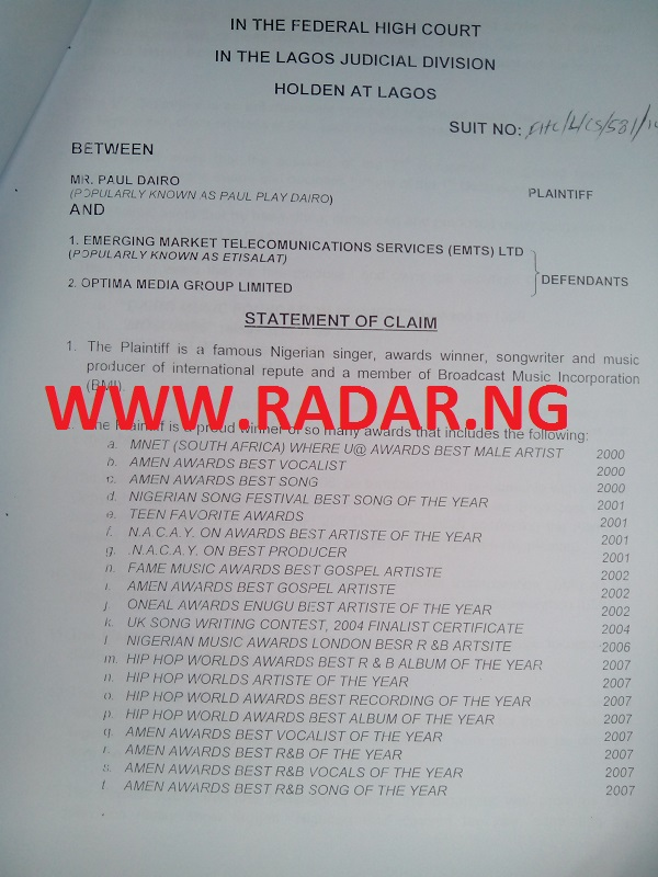 Paul Play Sues OPTIMA Media RadarNG2.ng