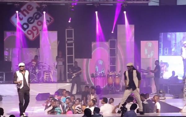Peter Okoye Falls off Stage