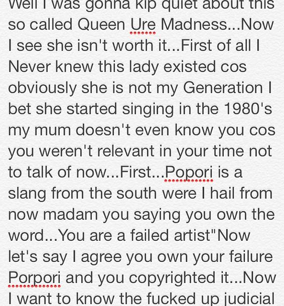 Cynthia Morgan v Queen Ure 1