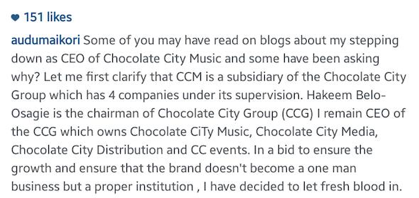 Audu Maikori Steps Down as Chocolate City CEO 2