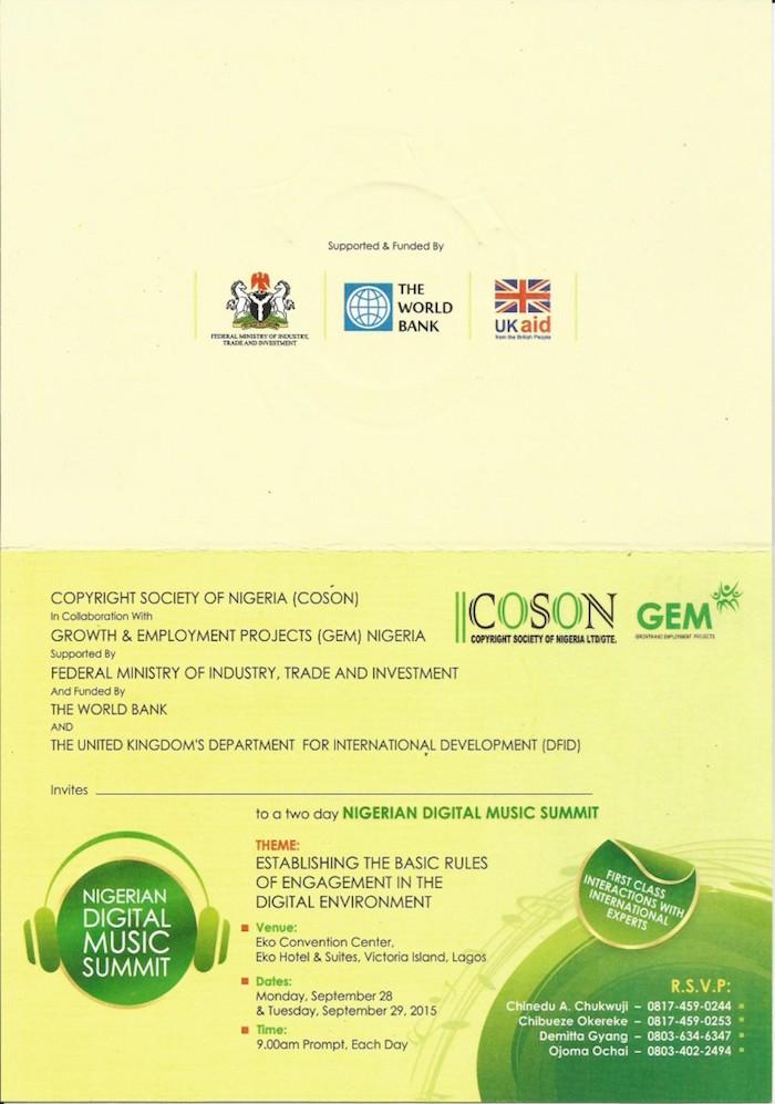 Coson Nigerian Digital Music Summit