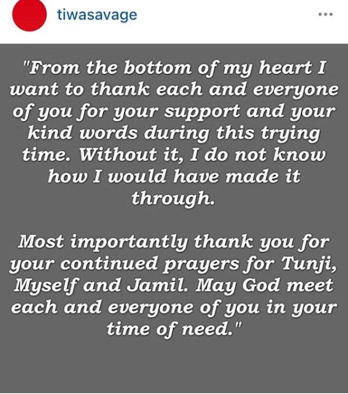 Tiwa Savage Statement