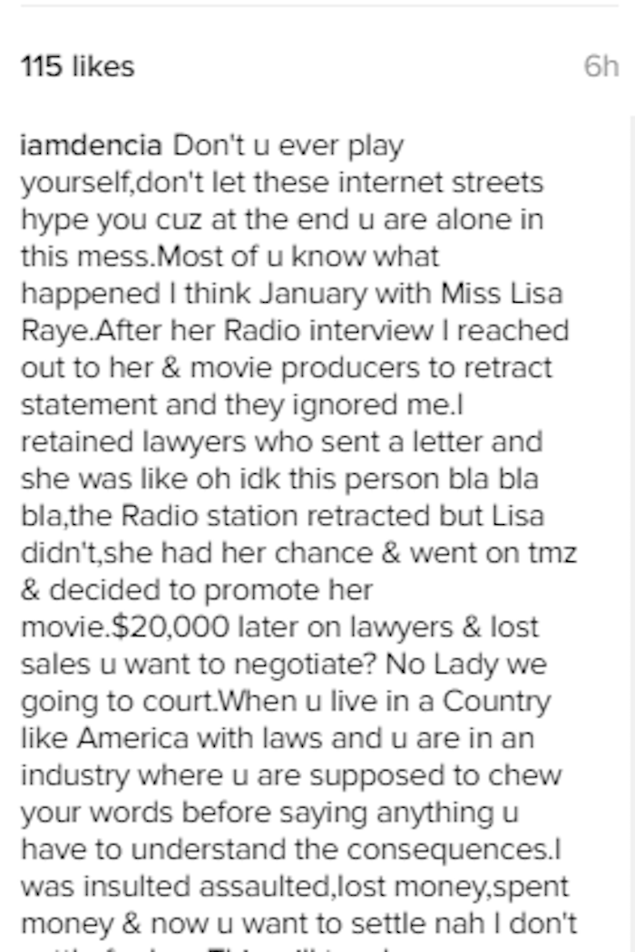 Dencia v. Lisa Raye Whitenicious 2