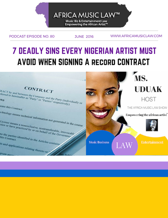 Record Contracts Nigerian Artists - AML 080: Record Label Contracts -- 7 Deadly Sins Every Nigerian & African Artist Must Avoid