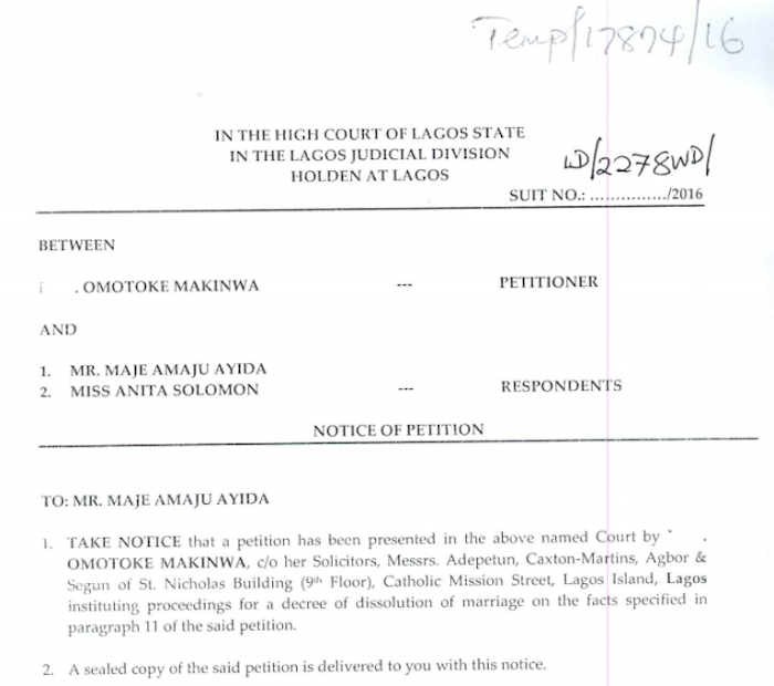 Toke Makinwa Divorce Papers 1