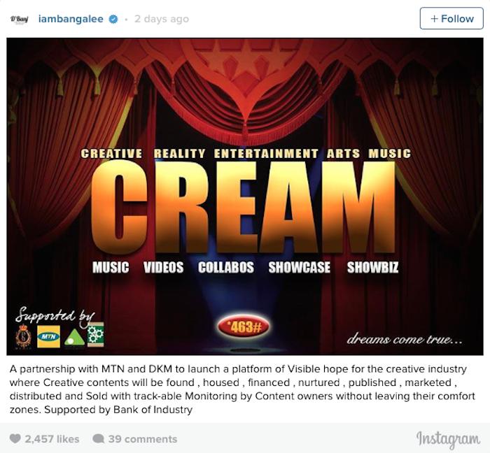 D'Banj Launches CREAM Africa Music Law
