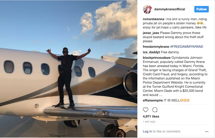 Dammy Krane Private Jet 1 Arrested - Breaking news: Nigerian Pop star Dammy Krane arrested in the U.S. for grand theft, credit card and identity fraud