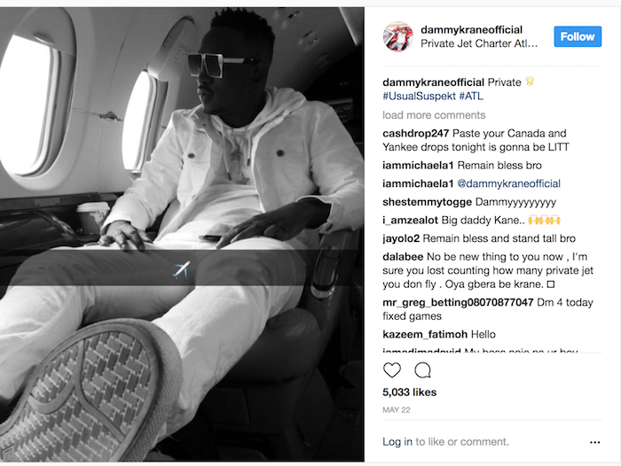Dammy Krane Private Jet Arrested 2 - Breaking news: Nigerian Pop star Dammy Krane arrested in the U.S. for grand theft, credit card and identity fraud