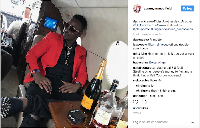 Dammy Krane Private Jet Arrested 3 - Breaking news: Nigerian Pop star Dammy Krane arrested in the U.S. for grand theft, credit card and identity fraud
