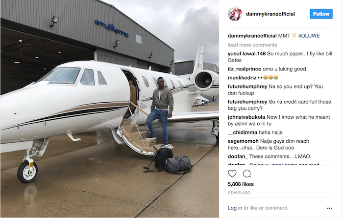 Dammy Krane Private Jet Arrested 5 - Breaking news: Nigerian Pop star Dammy Krane arrested in the U.S. for grand theft, credit card and identity fraud