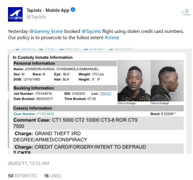 TapJets Claim they turned Dammy Krane to the police - Breaking news: Nigerian Pop star Dammy Krane arrested in the U.S. for grand theft, credit card and identity fraud