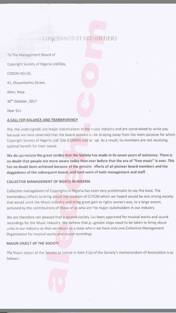 COSON Letter 1 - COSON Saga: Music Icon Onyeka Onwenu, in 2015, Raised the Same Collusion Issues Against Okoroji the Board Now Raises