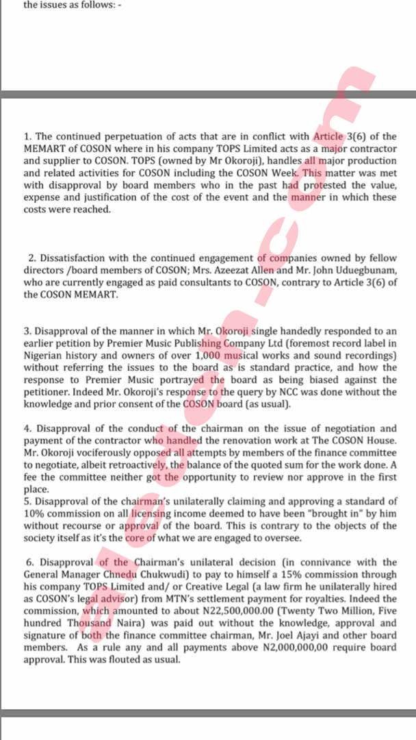 COSON Letter 7 - COSON Saga: Music Icon Onyeka Onwenu, in 2015, Raised the Same Collusion Issues Against Okoroji the Board Now Raises