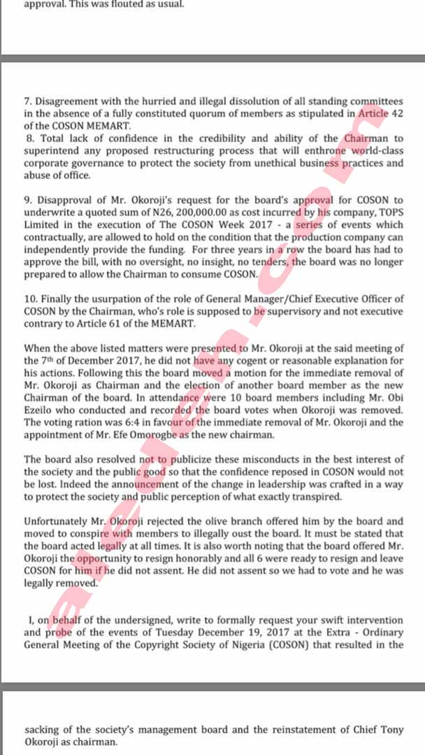 COSON Letter 8 - COSON Saga: Music Icon Onyeka Onwenu, in 2015, Raised the Same Collusion Issues Against Okoroji the Board Now Raises