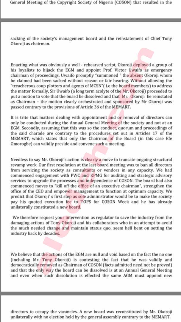 COSON Letter 9 - COSON Saga: Music Icon Onyeka Onwenu, in 2015, Raised the Same Collusion Issues Against Okoroji the Board Now Raises