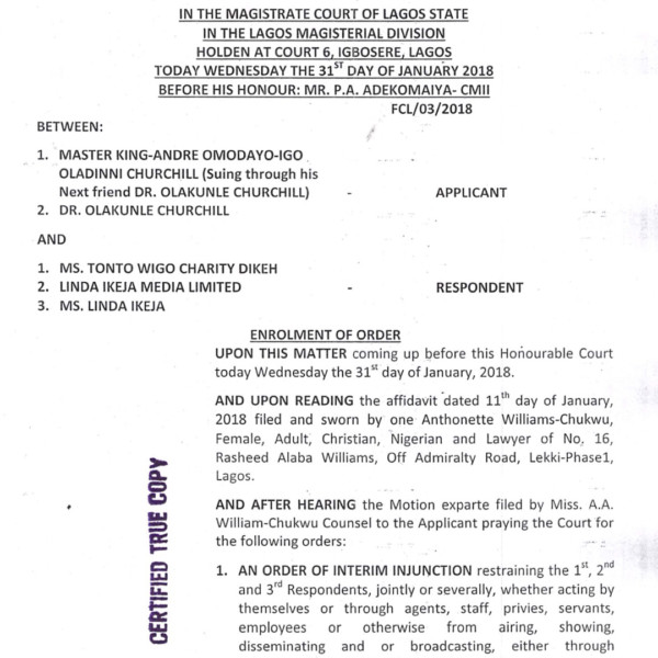 Court Grants Injunction Against Linda Ikeji and Tonto Dikeh - Lagos Court Grants Injunction Stopping Linda Ikeji & Tonto Dikeh from Exploiting Churchill's Son in Reality TV Show