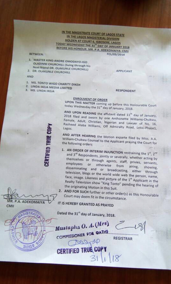 Court Injunction Tonto Dikeh  - Lagos Court Grants Injunction Stopping Linda Ikeji & Tonto Dikeh from Exploiting Churchill's Son in Reality TV Show