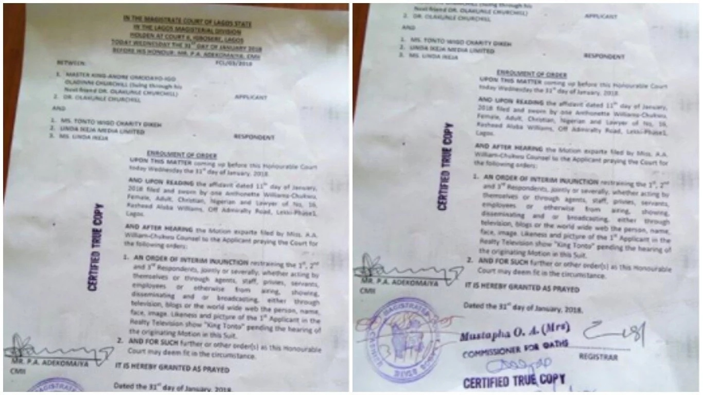 Court Injunction Tonto Dikeh 3 - Lagos Court Grants Injunction Stopping Linda Ikeji & Tonto Dikeh from Exploiting Churchill's Son in Reality TV Show