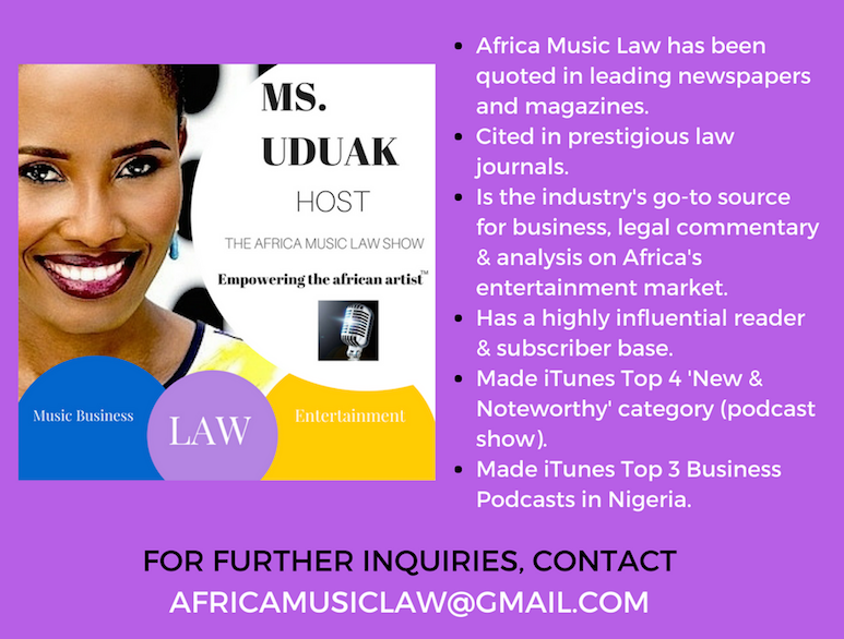 AML Advertisement Banner - The Africa Music Law Podcast Show with Ms. Uduak Makes iTunes 'New & Noteworthy' List