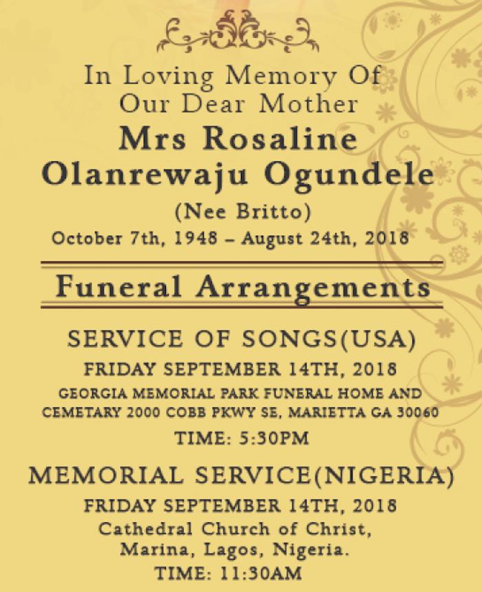 Mrs Rosaline Olarenwaju Ogundele 2 - NotJustOk.com Founder Demola Ogundele Loses Mom, Mrs. Rosaline Olanrewaju Ogundele